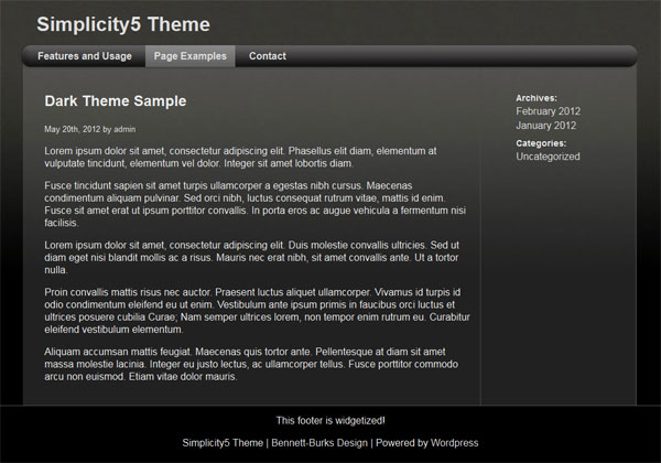 Simplicity5 dark theme screenshot